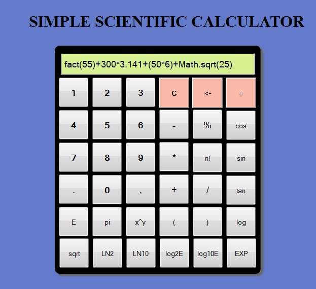 Simple Scientific calculator using HTML, JavaScript and css | MarkUp